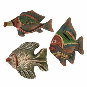Set of 3 Red Clay Tropical Fish Wall Hangings Decoration Ocean Sea